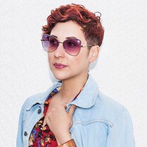 Accessories - Retro 70s Pink Ombré Metal Frame Sunglasses